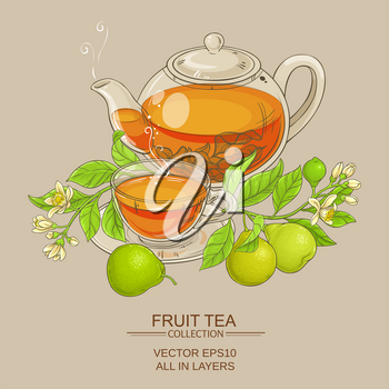 bergamot tea in teapot and cup of tea on color background