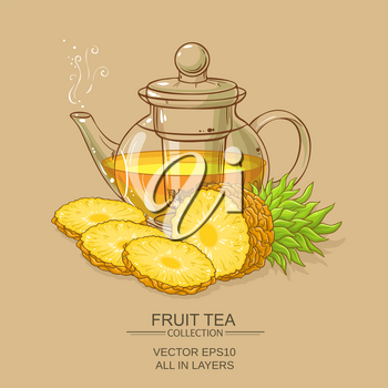 pineapple tea vector illustration on color background