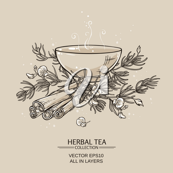 illustration with tea bowl with rooibos and cinnamon