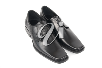 Pair of man's black shoes isolated on white background