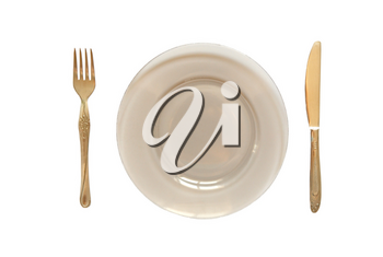 Dinner Plate, Knife, and Fork isolated on white.
