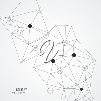 Abstract connection structure with dots and lines. Vector background.