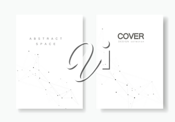 Set vector brochures template with connect design. Abstract technology pattern, compound dots and lines background.