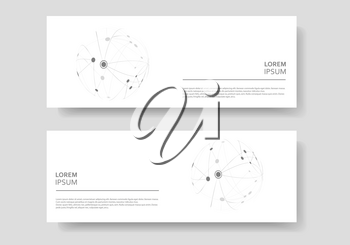 Cover design banner with connected line and dots. Simple technology compound background.