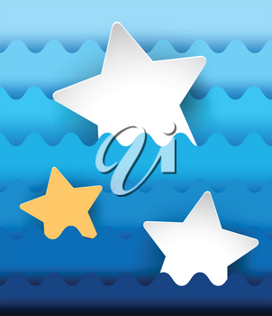 Three stars on blue wavy background illustration