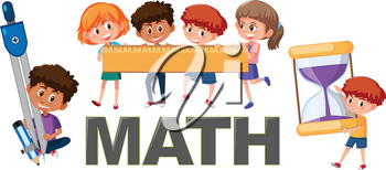 Children with math tools illustration