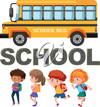 Student character with school bus illustration