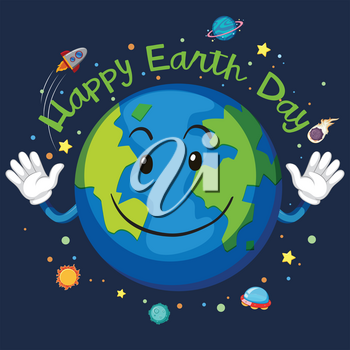 Happy earth day space concept illustration