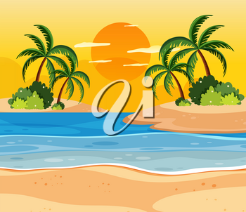 Sunset over tropical islands illustration
