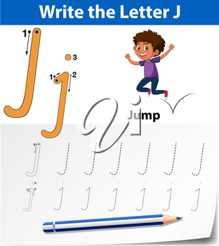 Letter J tracing alphabet worksheets illustration