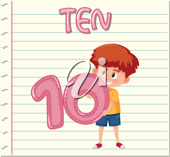 Boy holding number ten on note template illustration