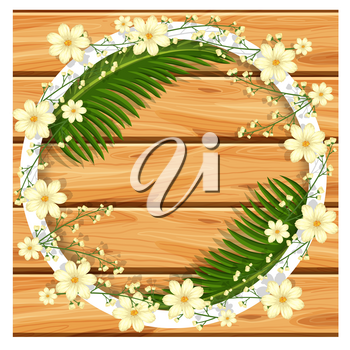 Border template with white flowers and green leaves illustration