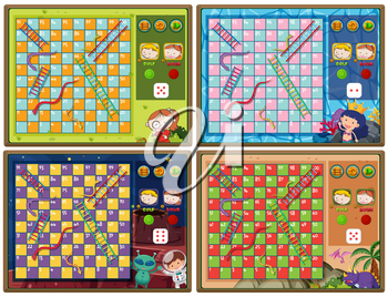 Set of snake and ladder game with four backgrounds illustration