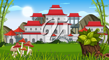 An outdoor scene with Asian building illustration