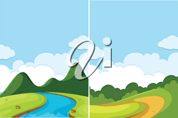 Two scenes of river and road at day time illustration