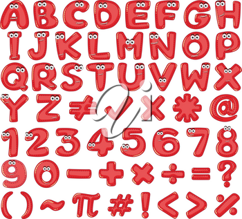 Red English Alphabet and Number  illustration