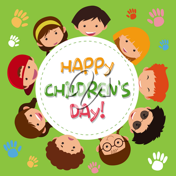 A happy children's icon illustration