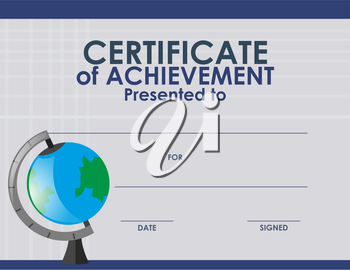 Certificate template with globe illustration