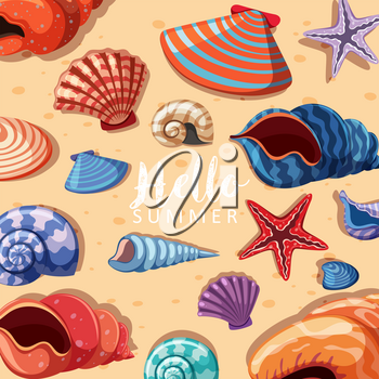 Summer theme background with seashells illustration