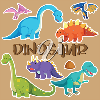 Different types of dinosaurs illustration