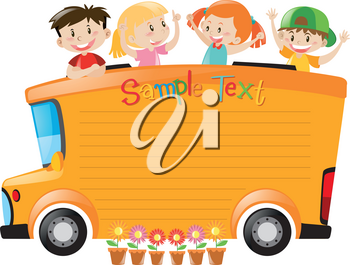 Board design with students riding on bus illustration