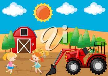 Farm scene with two girls playing in field illustration