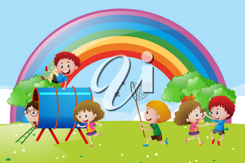 Many children playing and dancing in the park illustration