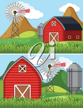Two farm scenes with red barn illustration