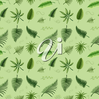 Seamless background design with green leaves illustration