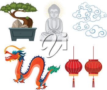 Asian antiques and decorations on white background illustration