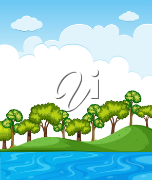 Nature scene with trees and blue sky illustration