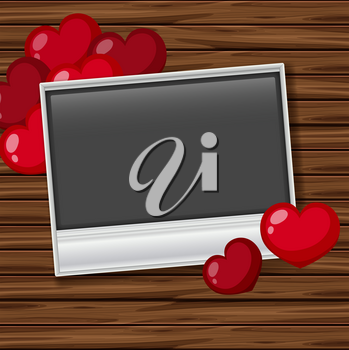 Blank photoframe with red heats on board illustration