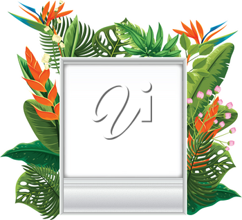 Border template with flowers and leaves  illustration