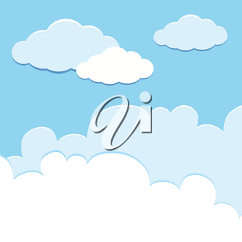 Background template with clouds in sky illustration