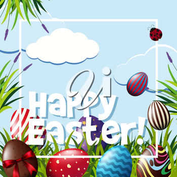 Frame template with easter eggs illustration