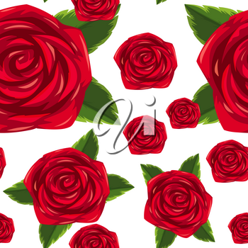 Seamless background template with red roses illustration