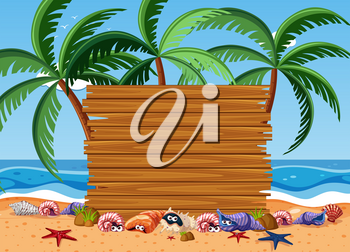 Wooden board with sea animals and ocean in background illustration