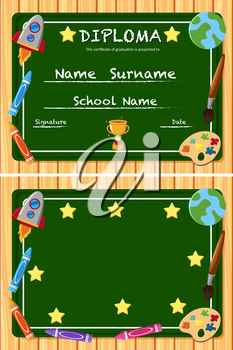 Diploma and frame template with green board background illustration