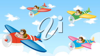 Scene with four pilots flying plane illustration