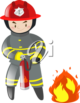 Fire fighter with extinguisher illustration