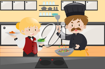 Chef and waitress in the kitchen illustration