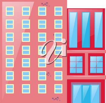 Pink building with glass windows illustration