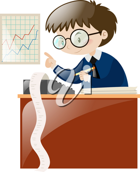 Accountant calculating numbers on desk illustration
