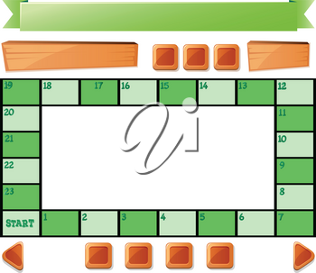 Boardgame template and buttons illustration