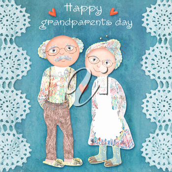 National happy grandparents day. A sweet illustration of senior man and woman couple on celadon lace-edged background. Lovely grandfather and grandmother. Can be used as card, flyer, poster.
