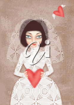 Girl in white wedding dress with veil and heart in hand. Mysterious, interesting lady. Can be used for printing on various products, such as tableware, packaging, calendars, boxes, gifts, albums etc.