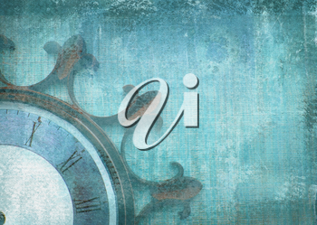 Fragment of the old vintage wall clock with roman numbers on a grunge background. Abstract composition for your design. Blue illustration of part clockface without arrows in the shape of ship wheel.