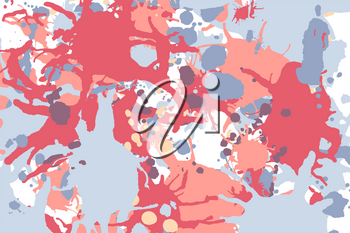 Orange red grey ink paint splashes vector colorful background
