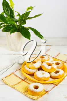 Homemade donuts with caster sugar. Doughnuts.  Sweet dessert. Donuts. Sweet pastry.