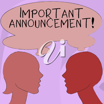 Text sign showing Important Announcement. Business photo showcasing spoken statement that tells showing about something Silhouette Sideview Profile Image of Man and Woman with Shared Thought Bubble